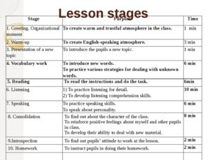 Lesson stages Stage Purpose Time 1.Greeting. Organizational moment To create