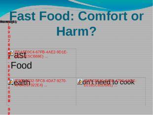 Fast Food: Comfort or Harm?