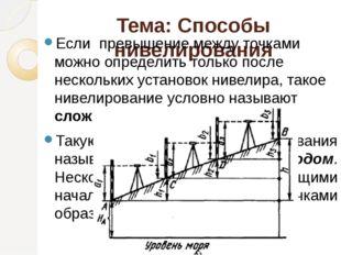 Тема: Способы нивелирования Если превышение между точками можно определить то