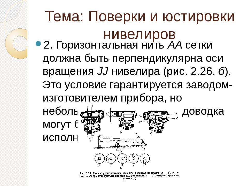 Тема: Поверки и юстировки нивелиров 2. Горизонтальная нитьААсетки должна бы...