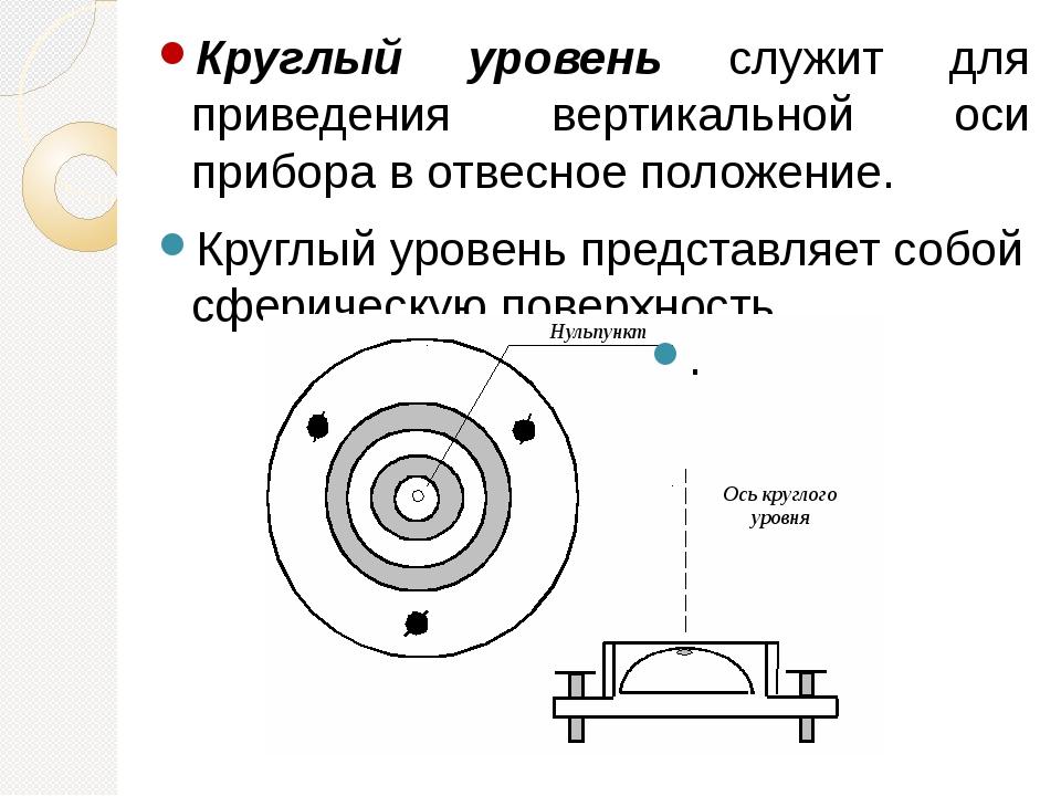 Круглый уровень служит для приведения вертикальной оси прибора в отвесное пол...