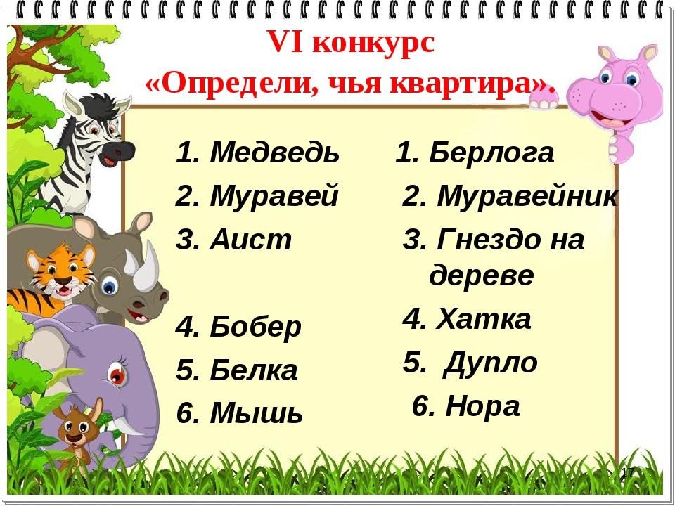 * VI конкурс «Определи, чья квартира». 1. Медведь 2. Муравей 3. Аист 4. Бобер...