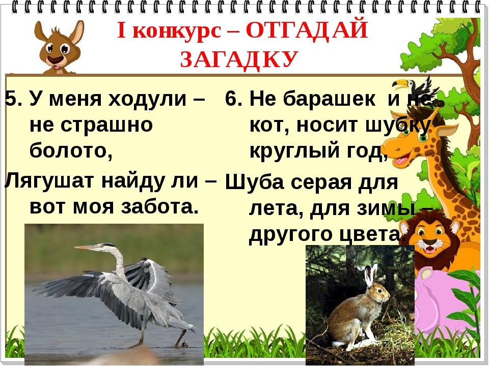 I конкурс – ОТГАДАЙ ЗАГАДКУ 5. У меня ходули –не страшно болото, Лягушат найд...