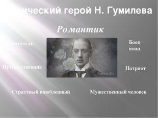 Лирический герой Н. Гумилева Мечтатель Боец воин Путешественник Патриот Страс