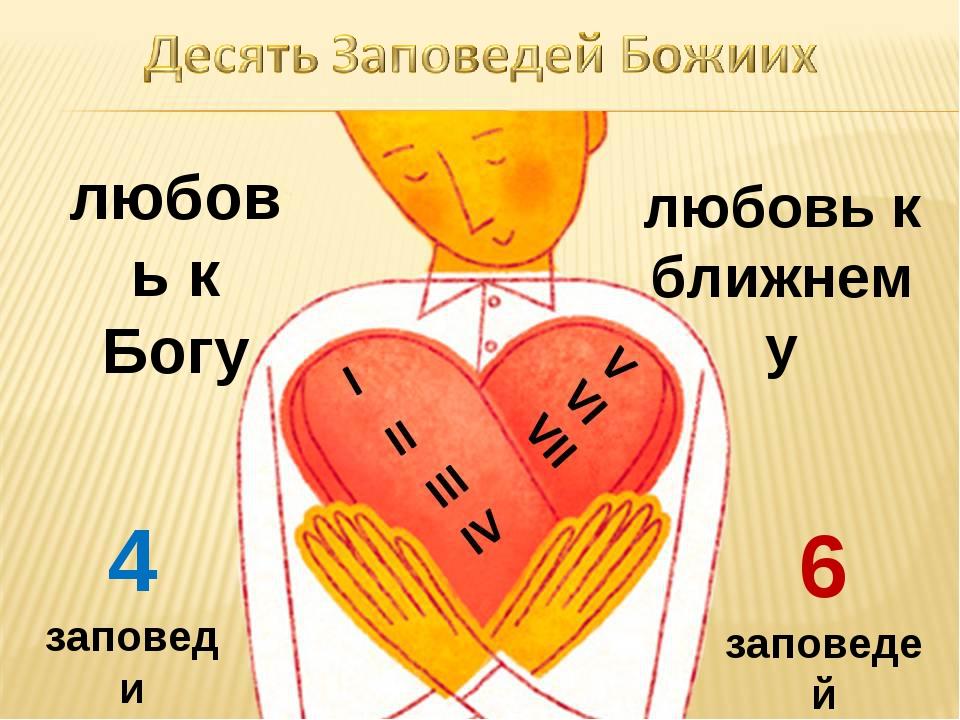 любовь к Богу любовь к ближнему 4 заповеди 6 заповедей