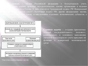 Система нормативных актов Главная задача — создание приемлемых условий послед