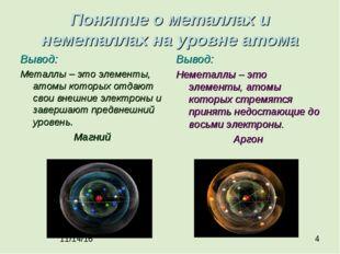 Понятие о металлах и неметаллах на уровне атома Вывод: Металлы – это элементы