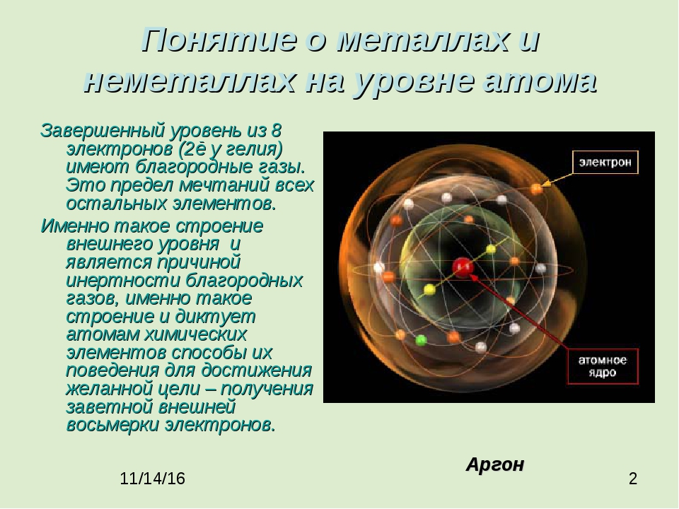 Понятие о металлах и неметаллах на уровне атома Завершенный уровень из 8 элек...