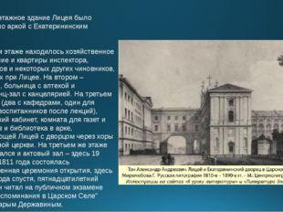 Четырехэтажное здание Лицея было соединено аркой с Екатерининским дворцом. В