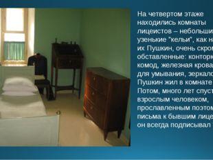 """На четвертом этаже находились комнаты лицеистов – небольшие узенькие """"кельи"""","""