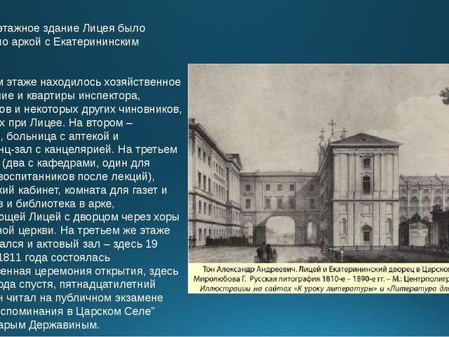 Четырехэтажное здание Лицея было соединено аркой с Екатерининским дворцом. В...