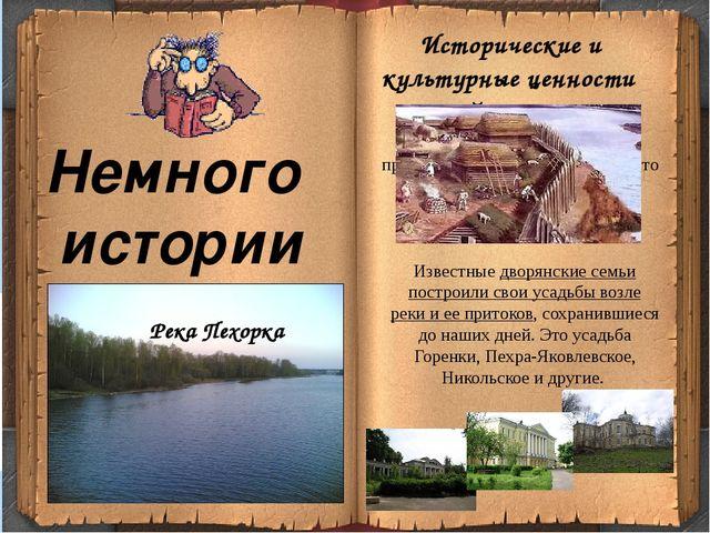 Немного истории Известные дворянские семьи построили свои усадьбы возле реки...