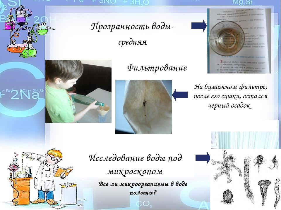 Прозрачность воды- средняя Фильтрование На бумажном фильтре, после его сушки,...