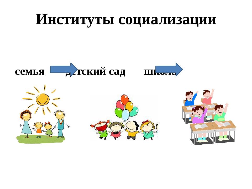 Институты социализации  семья детский сад  школа