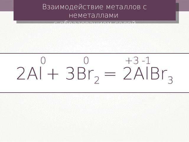 Взаимодействие металлов с неметаллами с образованием солей 2Al + 3Br2 = 2AlBr...