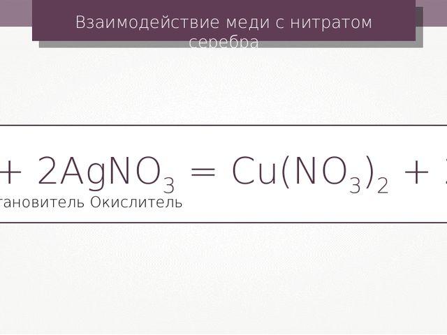 Взаимодействие меди с нитратом серебра Cu + 2AgNO3 = Cu(NO3)2 + 2Ag Окислител...