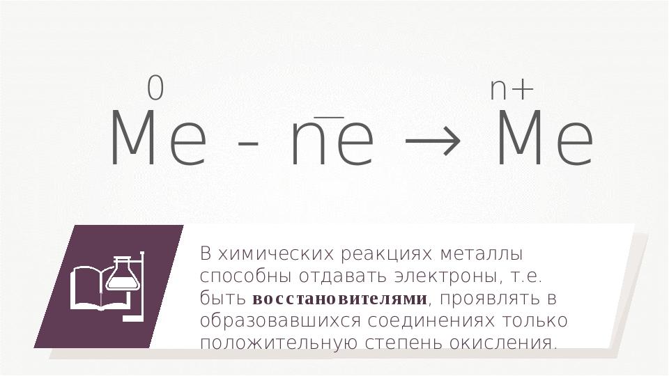 Me - ne → Me В химических реакциях металлы способны отдавать электроны, т.е....