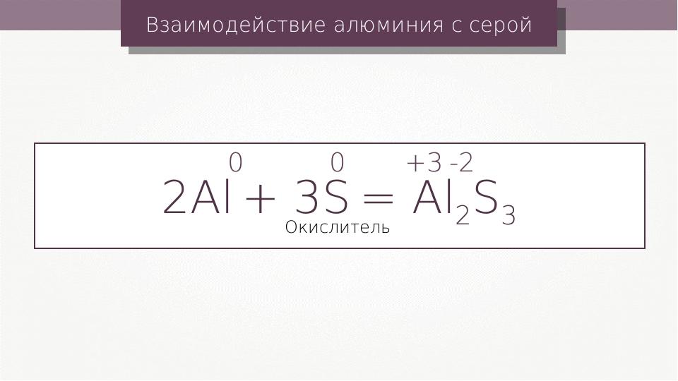 Взаимодействие алюминия с серой 2Al + 3S = Al2S3 0 0 +3 -2 Окислитель