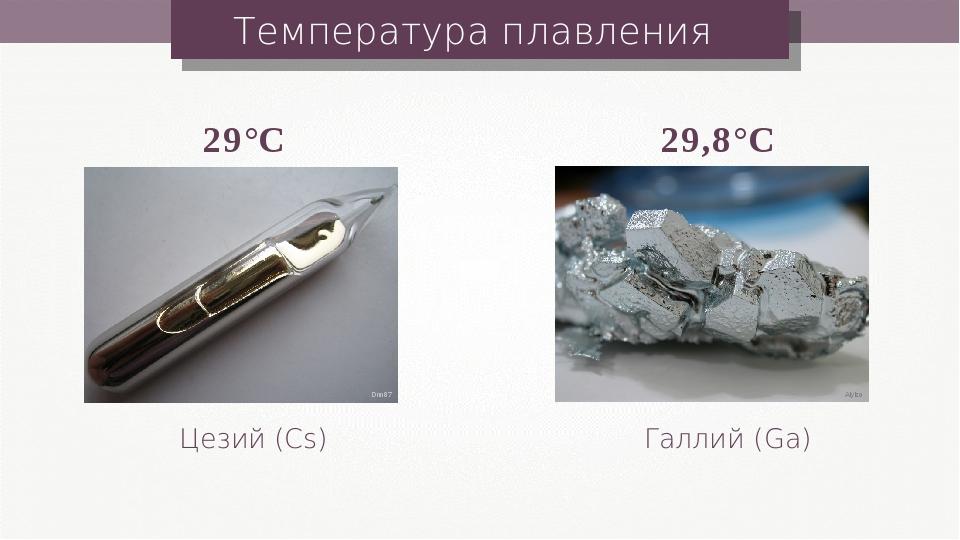 Температура плавления Цезий (Cs) Галлий (Ga) 29°C 29,8°C Aiyizo Dnn87