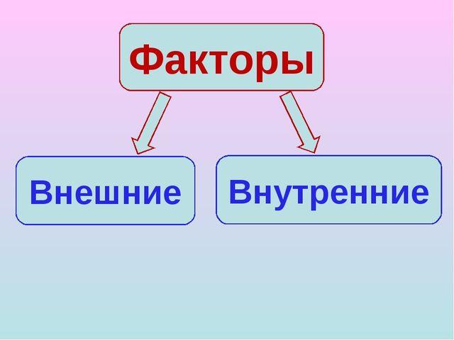 Факторы Внешние Внутренние