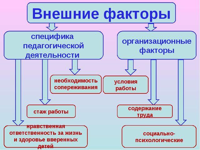 Внешние факторы специфика педагогической деятельности организационные факторы...