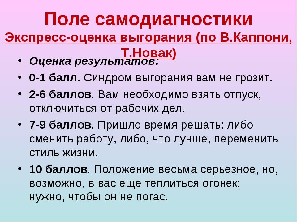 Поле самодиагностики Экспресс-оценка выгорания (по В.Каппони, Т.Новак) Оценк...