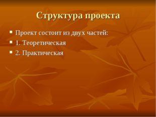 Структура проекта Проект состоит из двух частей: 1. Теоретическая 2. Практиче