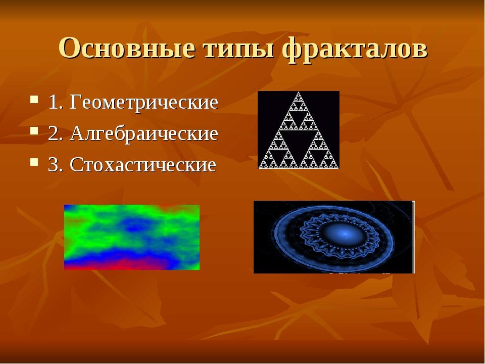 Основные типы фракталов 1. Геометрические 2. Алгебраические 3. Стохастические