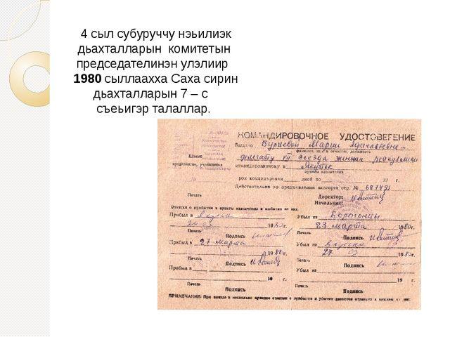 4 сыл субуруччу нэьилиэк дьахталларын комитетын председателинэн улэлиир 1980...