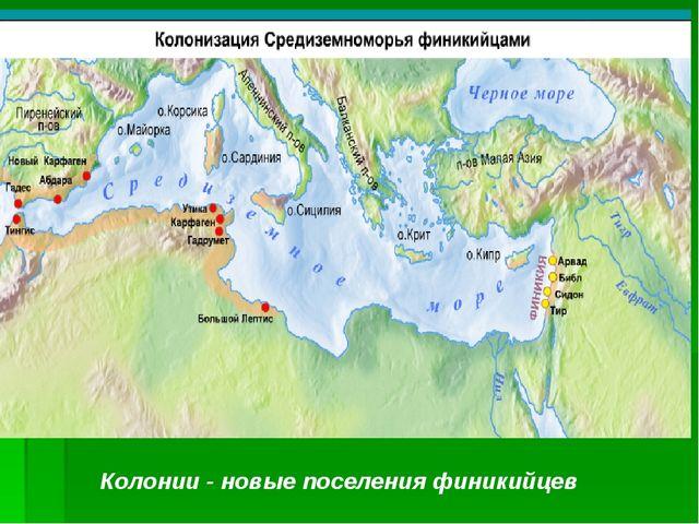 Колонии - новые поселения финикийцев