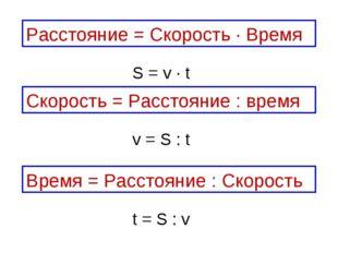 Скорость = Расстояние : время Расстояние = Скорость ∙ Время Время = Расстояни