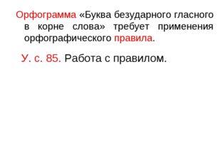 Орфограмма «Буква безударного гласного в корне слова» требует применения орфо