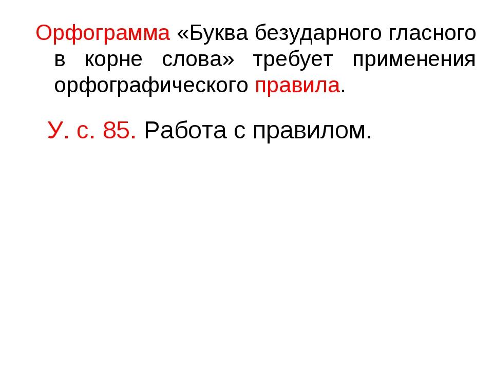 Орфограмма «Буква безударного гласного в корне слова» требует применения орфо...