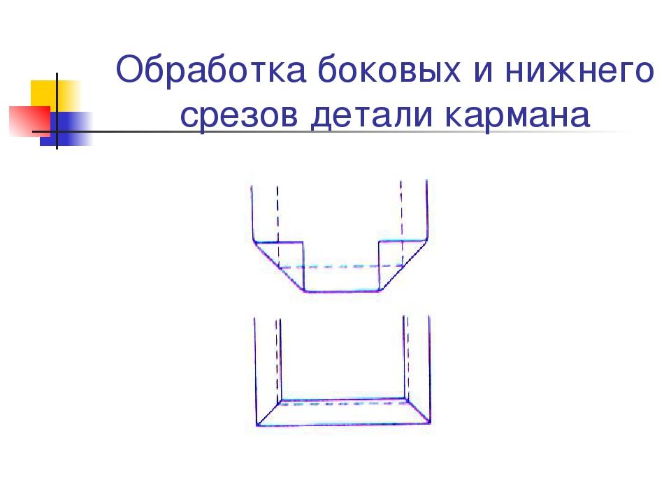 Обработка боковых и нижнего срезов детали кармана