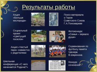 Результаты работы Поиск материала о Герое Советского Союза Г.А.Пономареве Акц