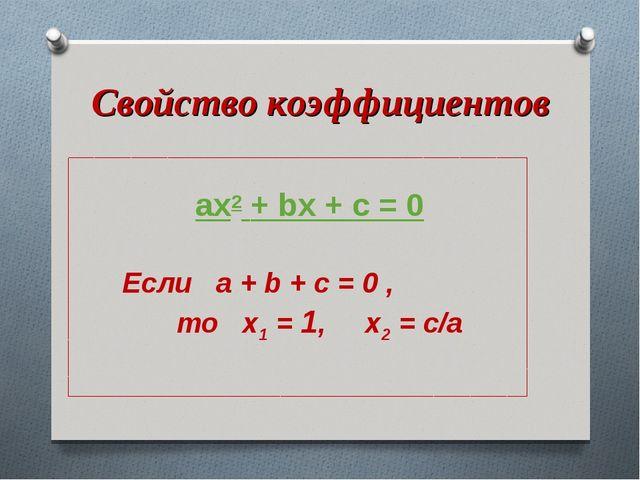 Свойство коэффициентов ax2 + bx + c = 0 Если a + b + с = 0 , то x1 = 1, x2 =...