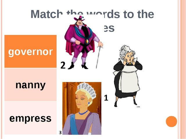 Match the words to the pictures governor nanny empress