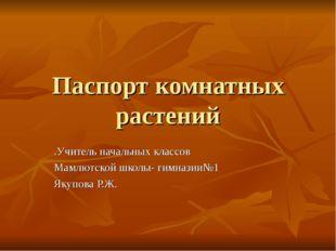 Паспорт комнатных растений .Учитель начальных классов Мамлютской школы- гимна