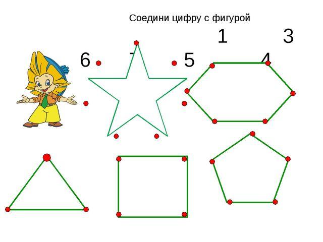 Соедини цифру с фигурой 1 3 6 7 5 4