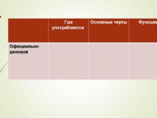 Где употребляется Основные черты Функции Официально-деловой