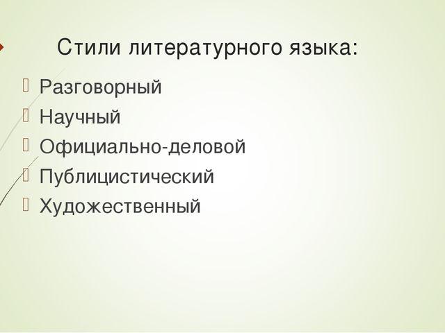 Стили литературного языка: Разговорный Научный Официально-деловой Публицистич...