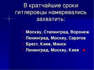 В кратчайшие сроки гитлеровцы намеревались захватить: Москву, Сталинград, Вор