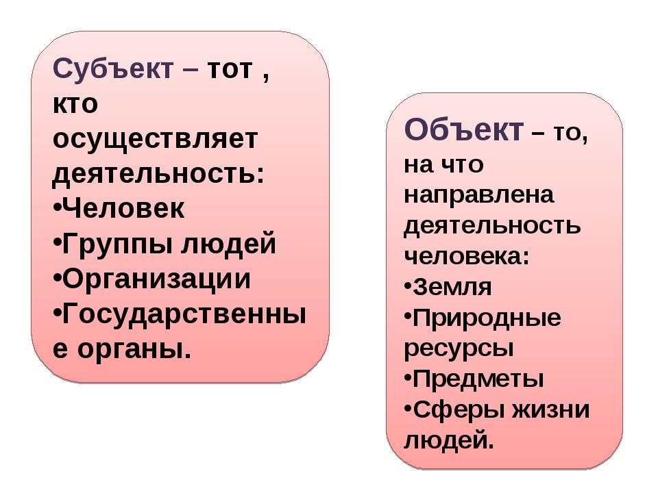 Субъект – тот , кто осуществляет деятельность: Человек Группы людей Организац...