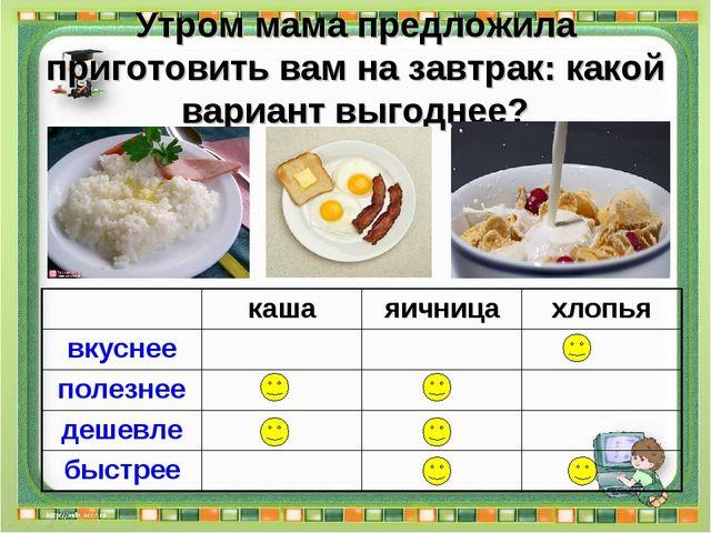 Утром мама предложила приготовить вам на завтрак: какой вариант выгоднее?