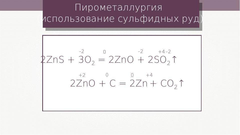 Пирометаллургия (использование сульфидных руд) 2ZnS + 3O2 = 2ZnO + 2SO2↑ –2 0...