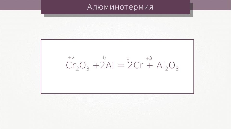 Алюминотермия Cr2O3 +2AI = 2Cr + AI2O3 +2 0 0 +3