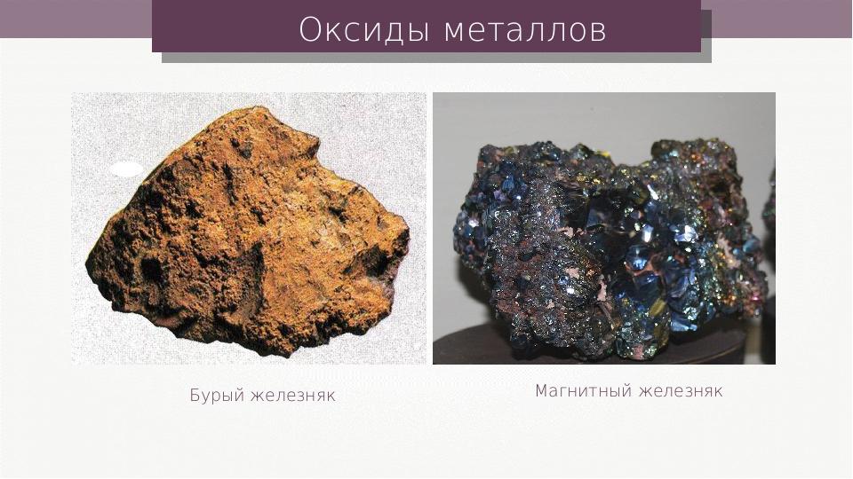 Оксиды металлов Бурый железняк Магнитный железняк