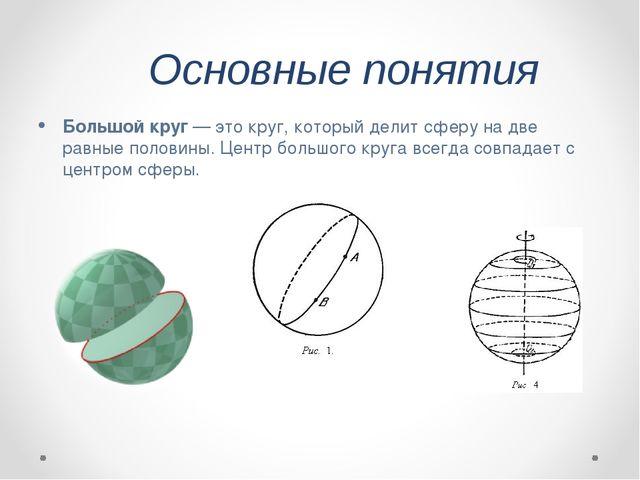 Основные понятия Большой круг— это круг, который делит сферу на две равные п...