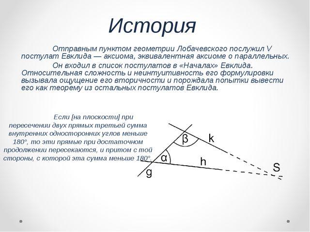 История Отправным пунктом геометрии Лобачевского послужилV постулат Евклида...