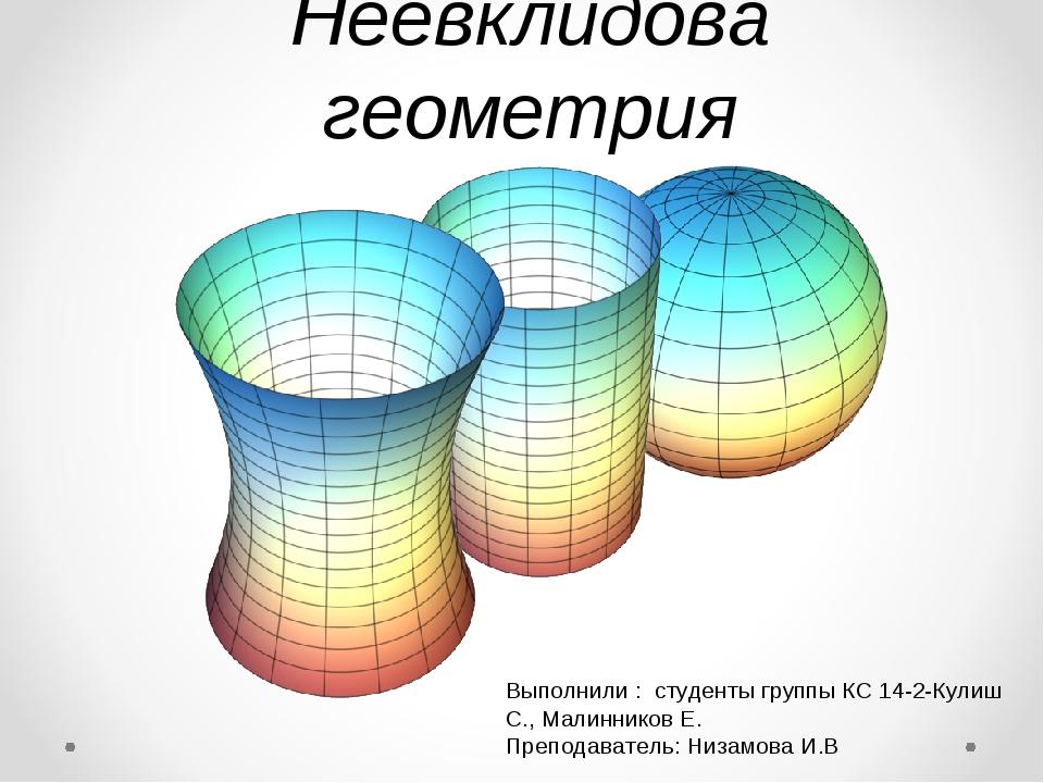 Неевклидова геометрия Выполнили : студенты группы КС 14-2-Кулиш С., Малиннико...